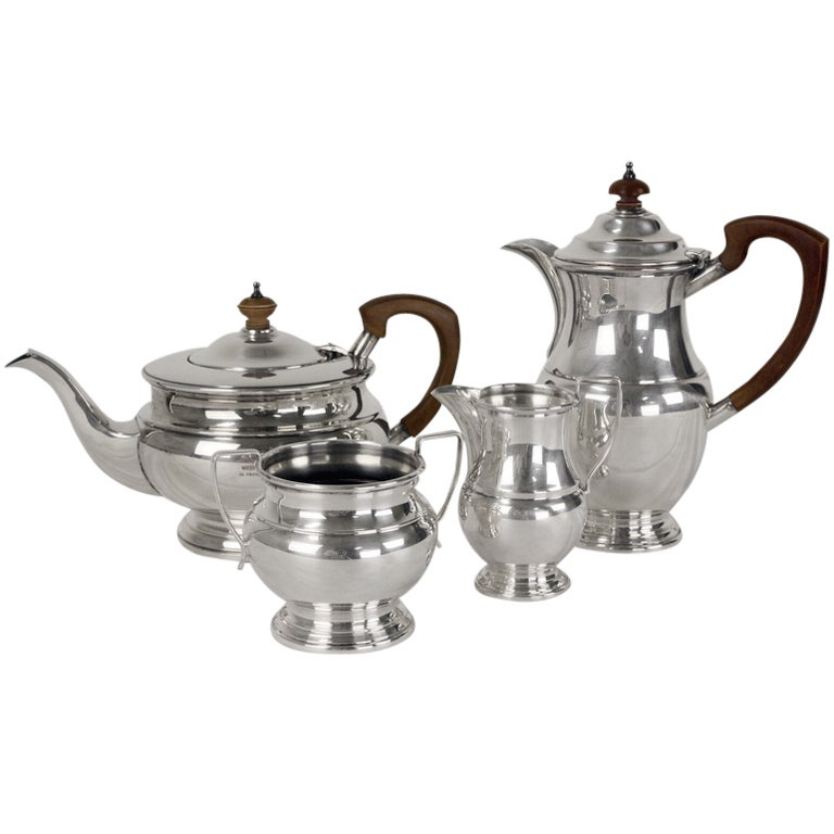 English Silverplated Four Piece Coffee Tea Serving Set For
