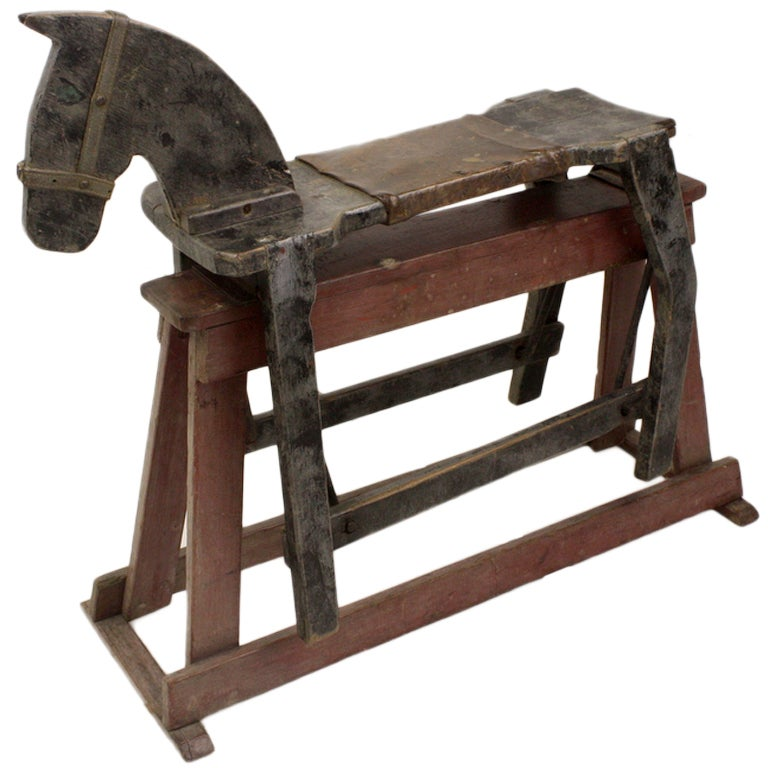 Folk art antique english rocking horse for sale at 1stdibs for Vintage horseshoes for sale