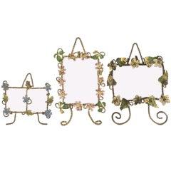Three Antique Miniature English Frames, Gilded, Painted Enamel