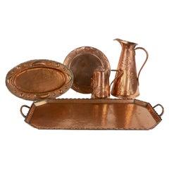 Five-Piece Collection of Art Nouveau Copper