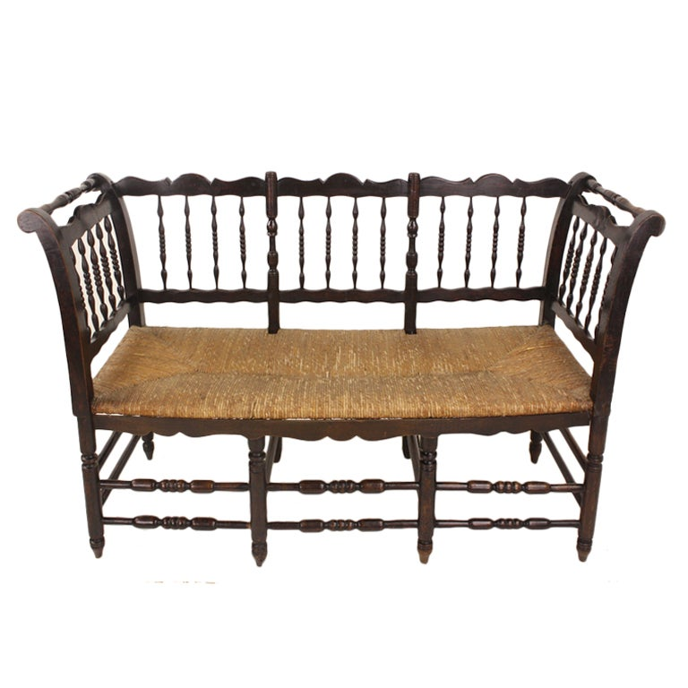 Antique French Spindle Bench At 1stdibs