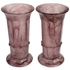 Pair Fine Tall Vintage Violet Column Vases, Davidson of England