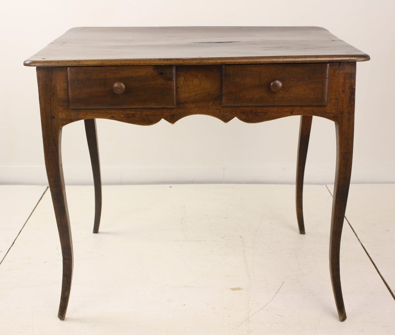 Louis XV Two-Drawer Walnut Side Table For Sale 2