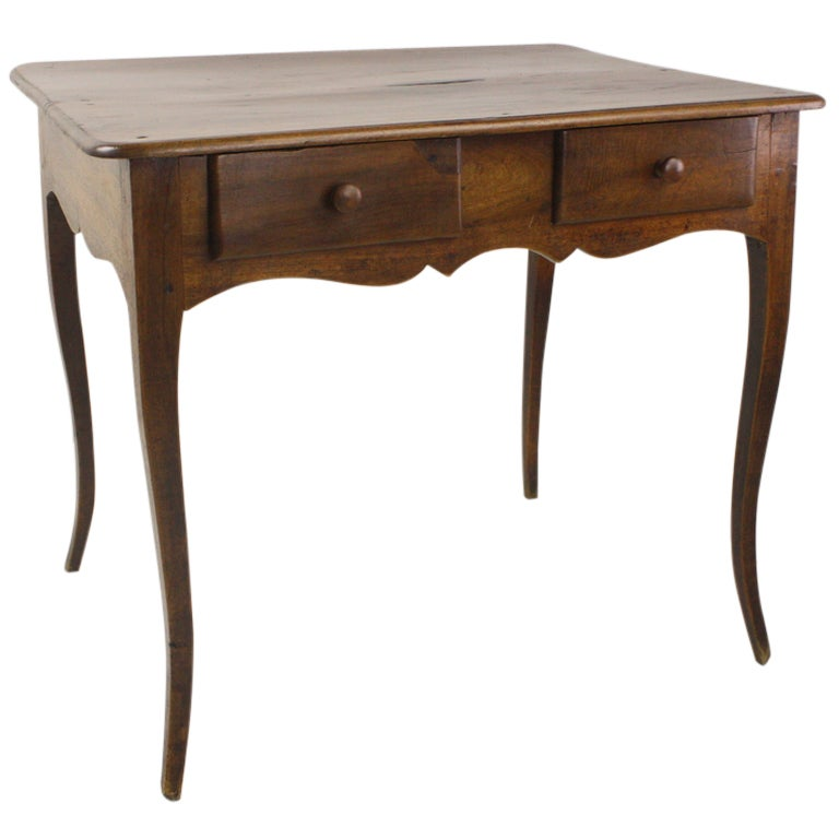 Louis XV Two-Drawer Walnut Side Table For Sale