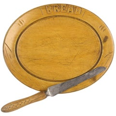 Breadboard, Antique English Rare Oval Shape, and Carved Knife