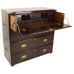 Antique English Desk Campaign Chest of Drawers