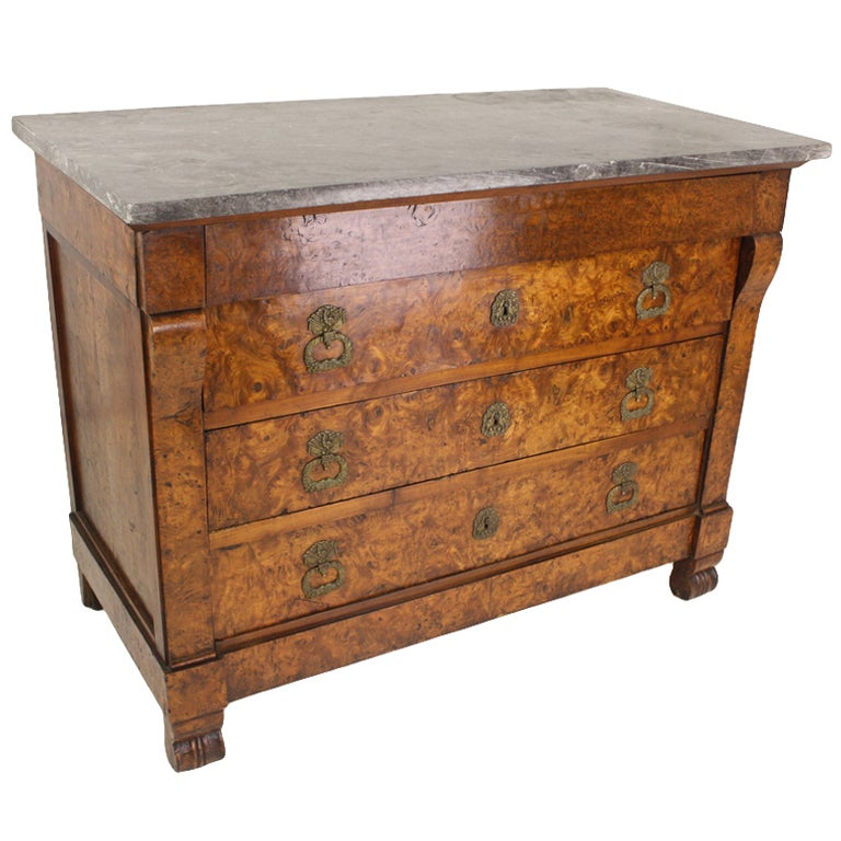 Exceptional Antique French Burl Elm Commode