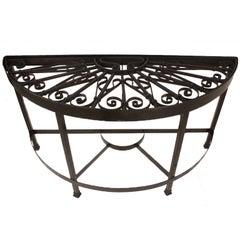 Antique English Metal Grille Demilune Server/Table