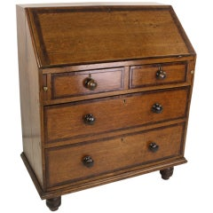 Antique English Period Oak Mahogany-Banded Bureau