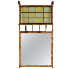 English Antique Bamboo Mirror with Leaded Glass