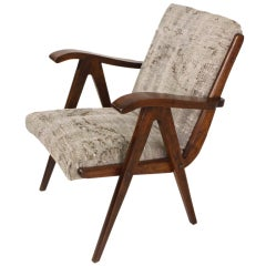 Continental Mid-Century Chair, Antique Oriental Rug Upholstery