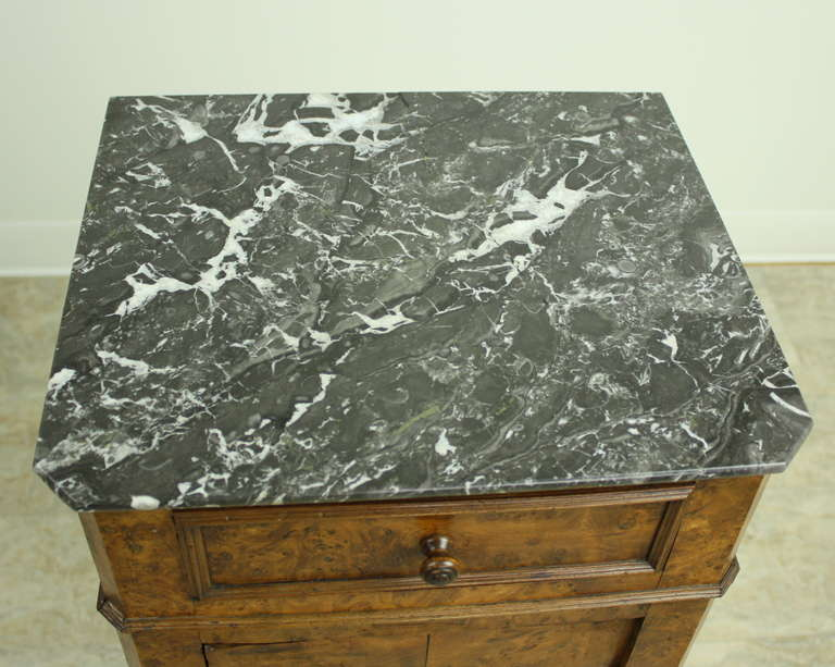 Marble Louis Philippe Antique French Burr Elm Side Cabinet For Sale