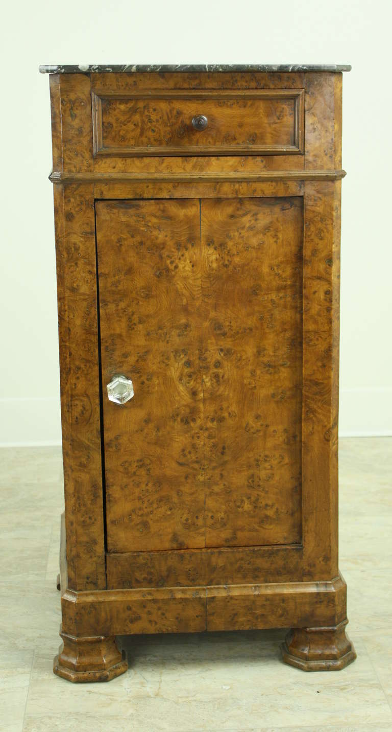 Louis Philippe Antique French Burr Elm Side Cabinet In Good Condition For Sale In Port Chester, NY