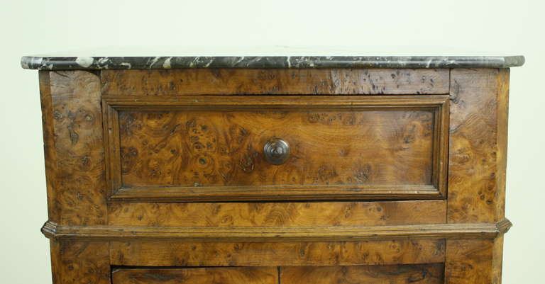 19th Century Louis Philippe Antique French Burr Elm Side Cabinet For Sale