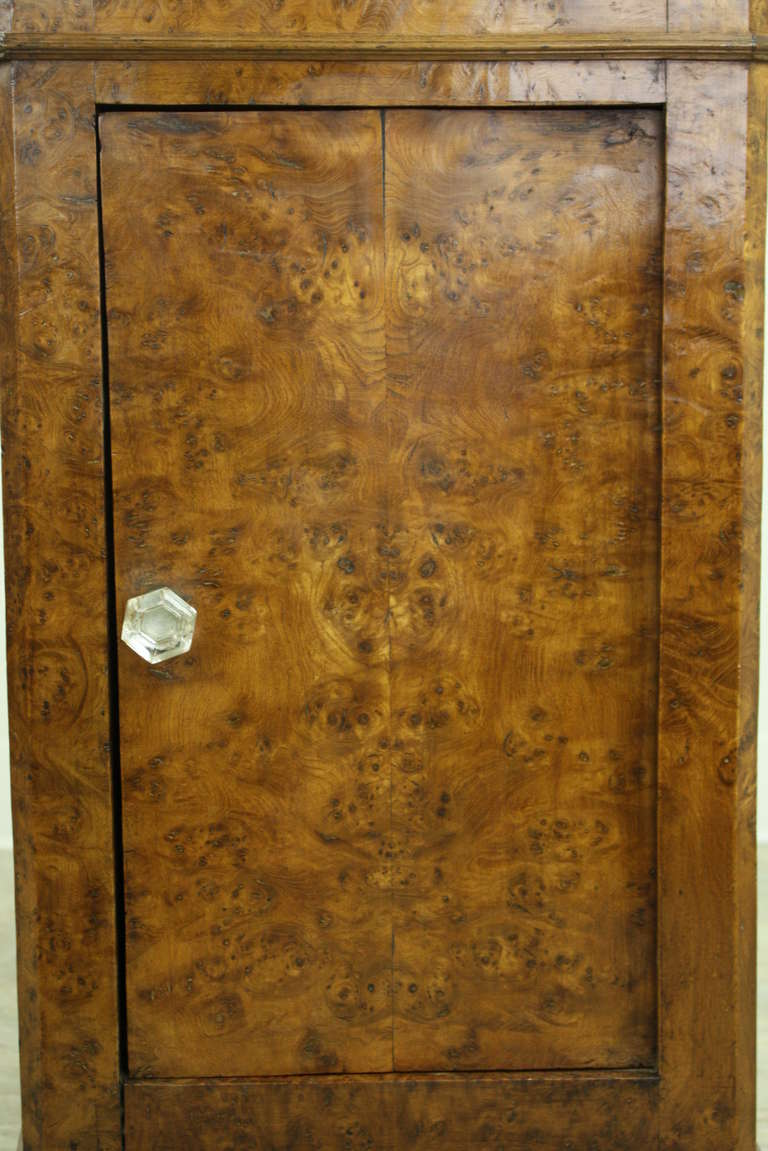 Louis Philippe Antique French Burr Elm Side Cabinet For Sale 1