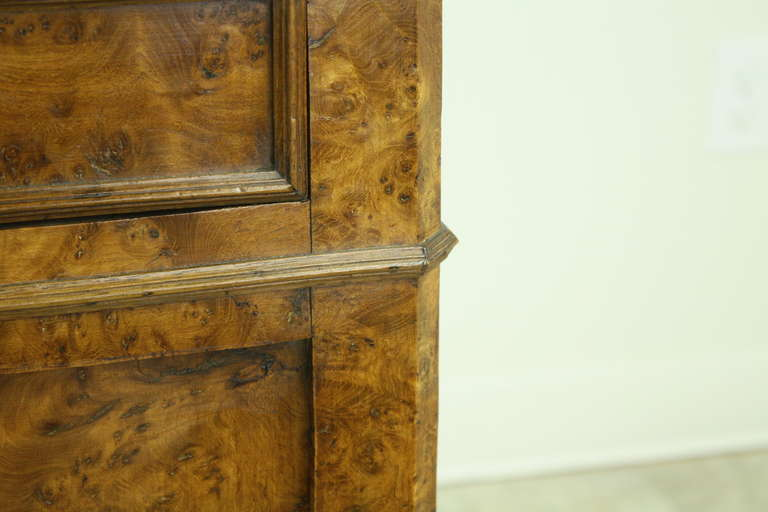 Louis Philippe Antique French Burr Elm Side Cabinet For Sale 4