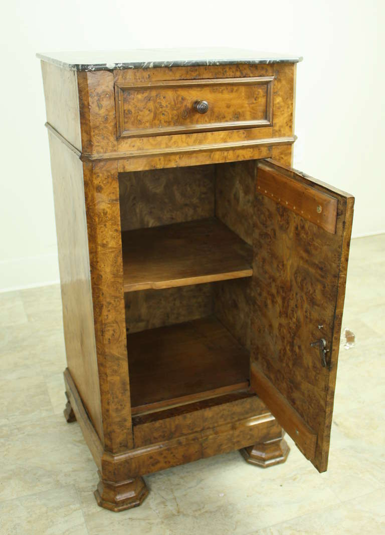 Louis Philippe Antique French Burr Elm Side Cabinet For Sale 3