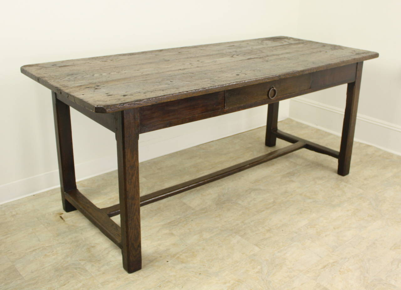 Rustic Chestnut Farm Table On A Stretcher Base 2