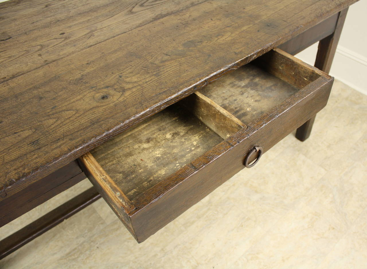 Rustic chestnut farm table on a stretcher base for sale at for Rustic farm tables for sale