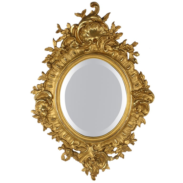 Vintage swedish gold gilt frame mirror at 1stdibs for Gold wall mirror