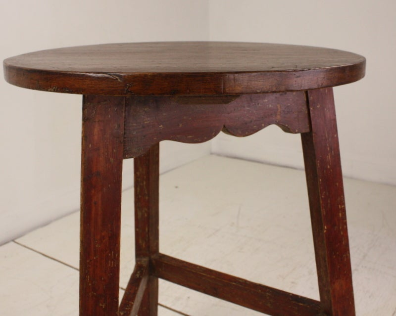 19th Century Antique Welsh Pine Painted Base Cricket Table For Sale