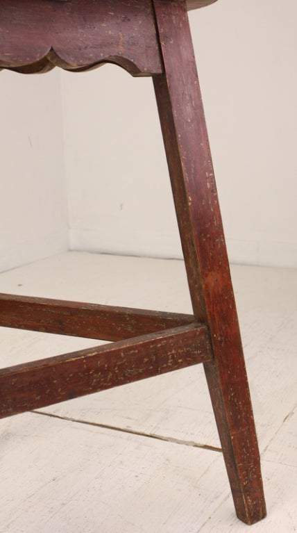 Wood Antique Welsh Pine Painted Base Cricket Table For Sale
