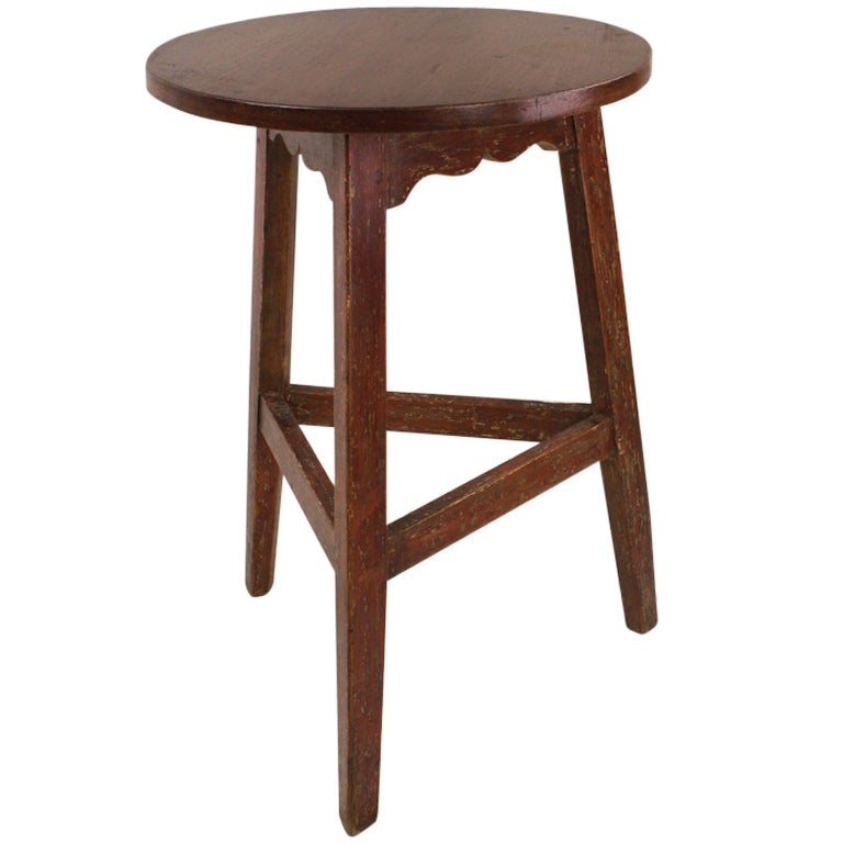 Antique Welsh Pine Painted Base Cricket Table For Sale