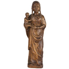 """17th Century French Statue of the """"Vierge et L'Enfant"""""""