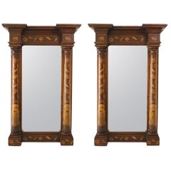 Pair of Antique Dutch Marquetry Mirrors