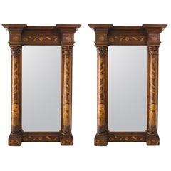 Pair of Antique Dutch Marquetry Mirrors
