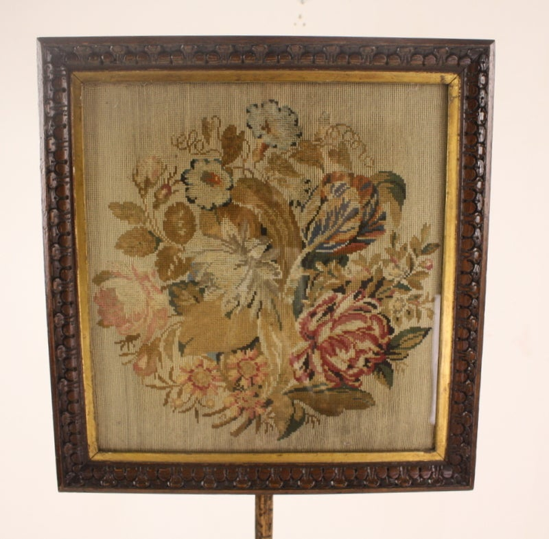 Antique William Iv English Embroidered Fire Screen For