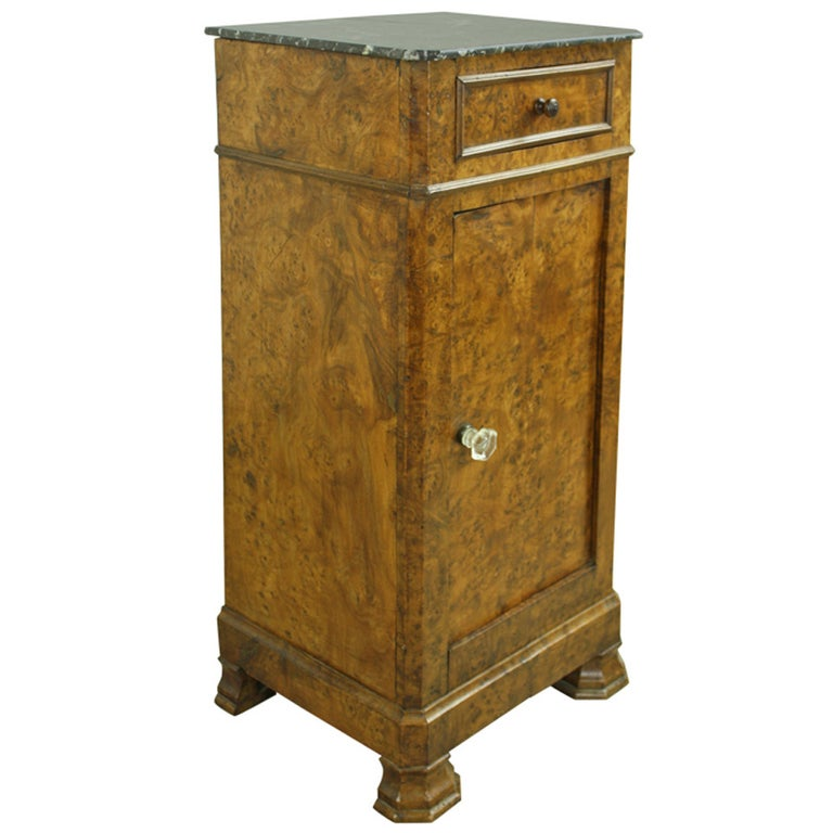 Louis Philippe Antique French Burr Elm Side Cabinet For Sale