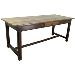 Antique Cherry Farm Table on a Trestle Base