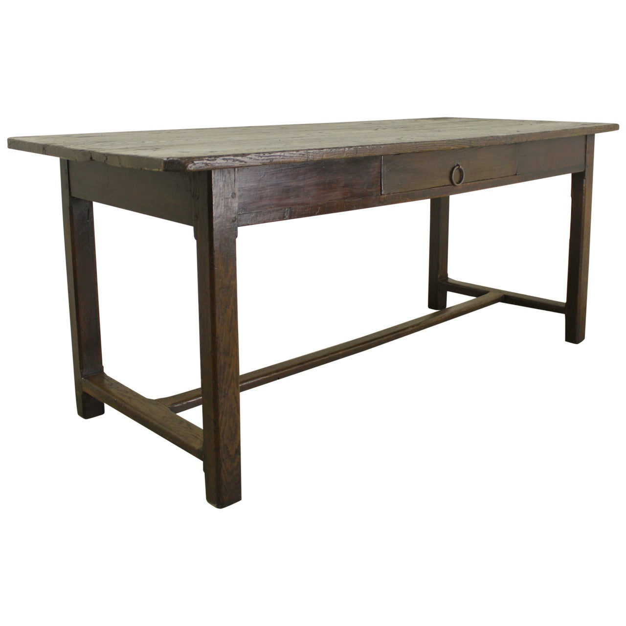 Rustic Chestnut Farm Table on a Stretcher Base