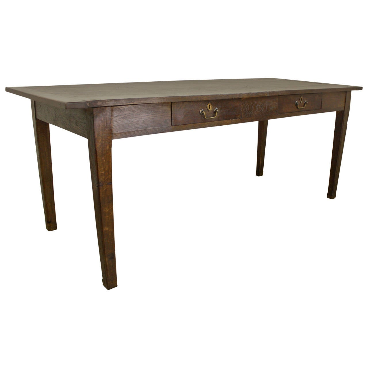 Farmhouse Kitchen Table With Drawers: Antique Two-Drawer Chestnut Farm Table At 1stdibs