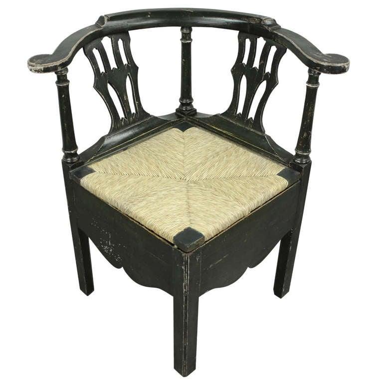 English Georgian Dark Green Corner Armchair