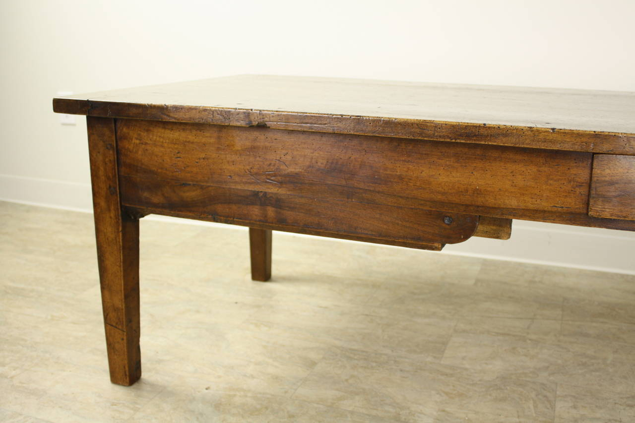 Wood Antique Walnut Coffee Table with Two Drawers For Sale