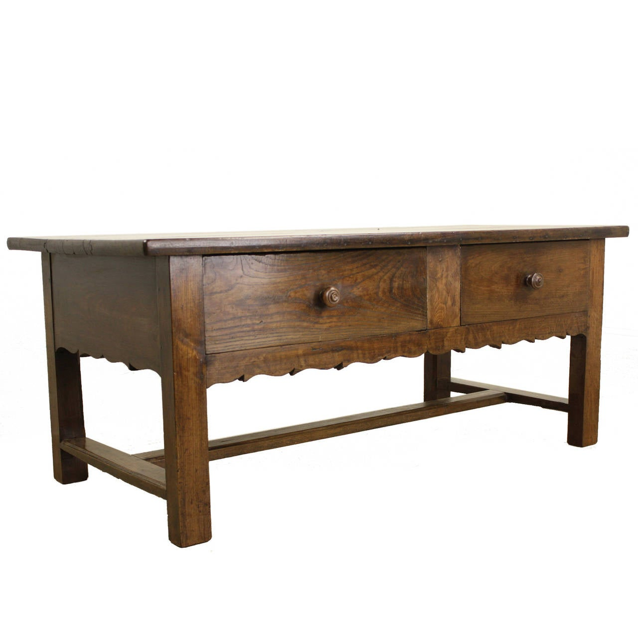 Antique French Chestnut Coffee Table Stretcher And Shaped Apron At 1stdibs