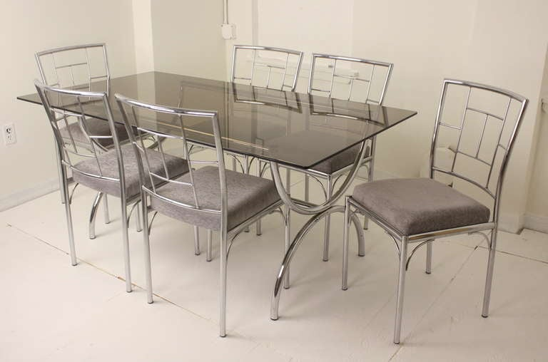 Vintage Italian Chrome And Glass Dining Table Six Chairs At 1stdibs