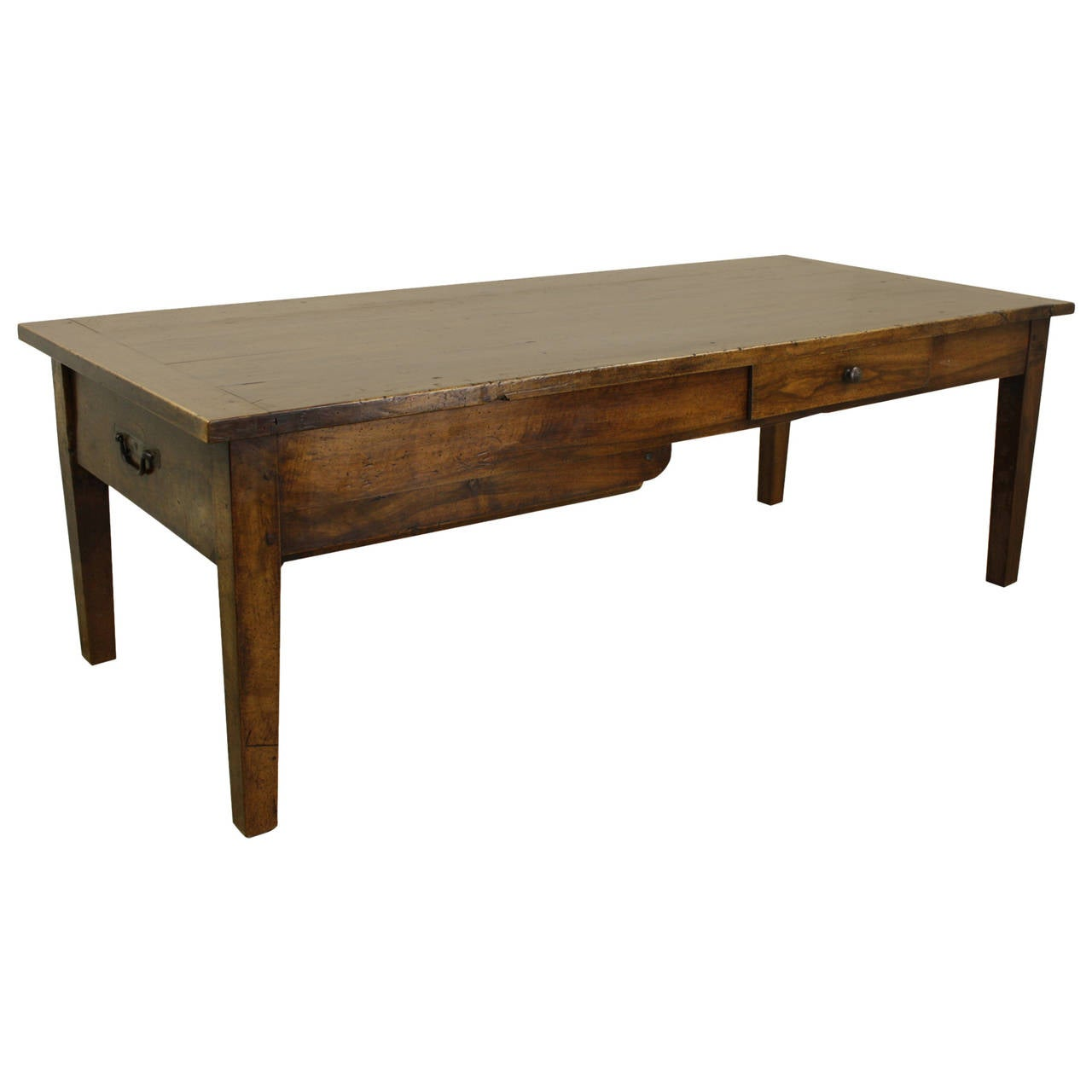 Antique Walnut Coffee Table With Two Drawers For Sale At 1stdibs