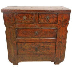 Antique Chinese Rustic Red Small Cupboard