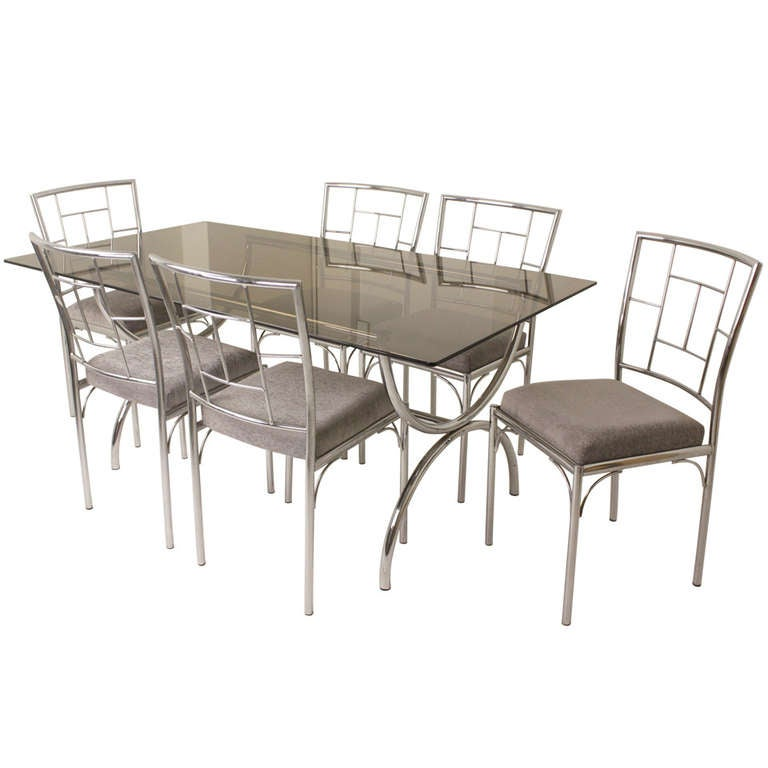 Vintage Italian Chrome and Glass Dining Table Six Chairs