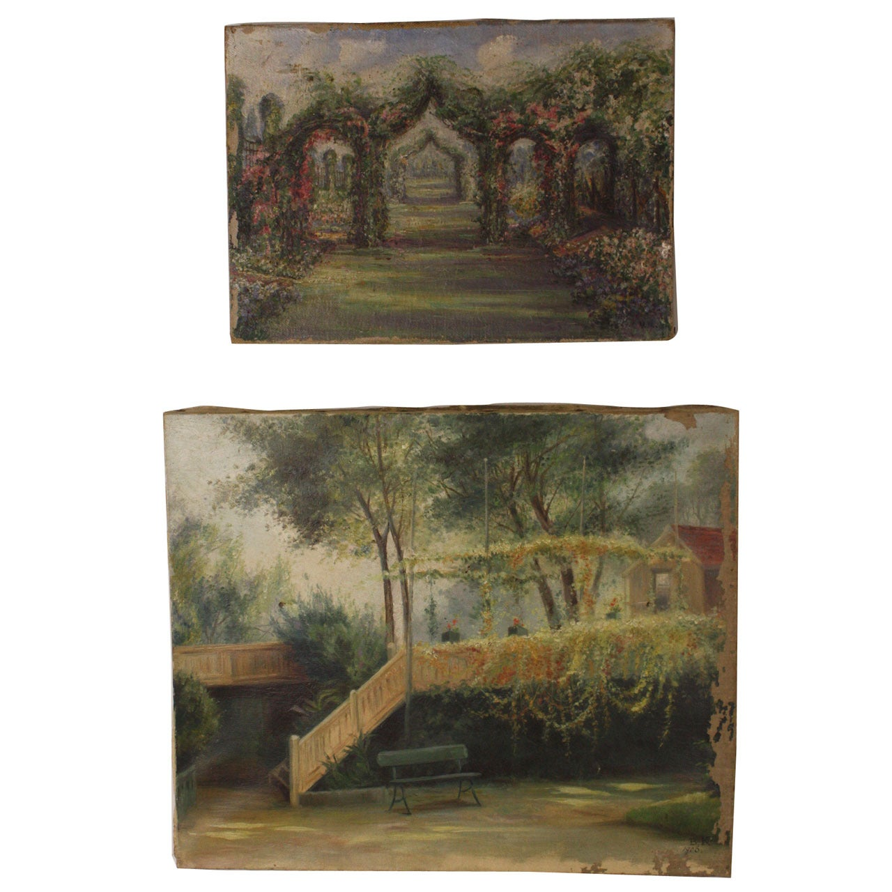 Charming Pair of English Antique Garden Oil Paintings