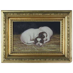 Antique English Oil Painting of Puppies