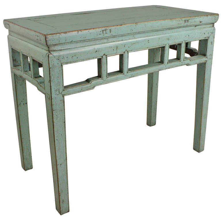 Light blue painted vintage chinese console table at 1stdibs for Painted foyer tables