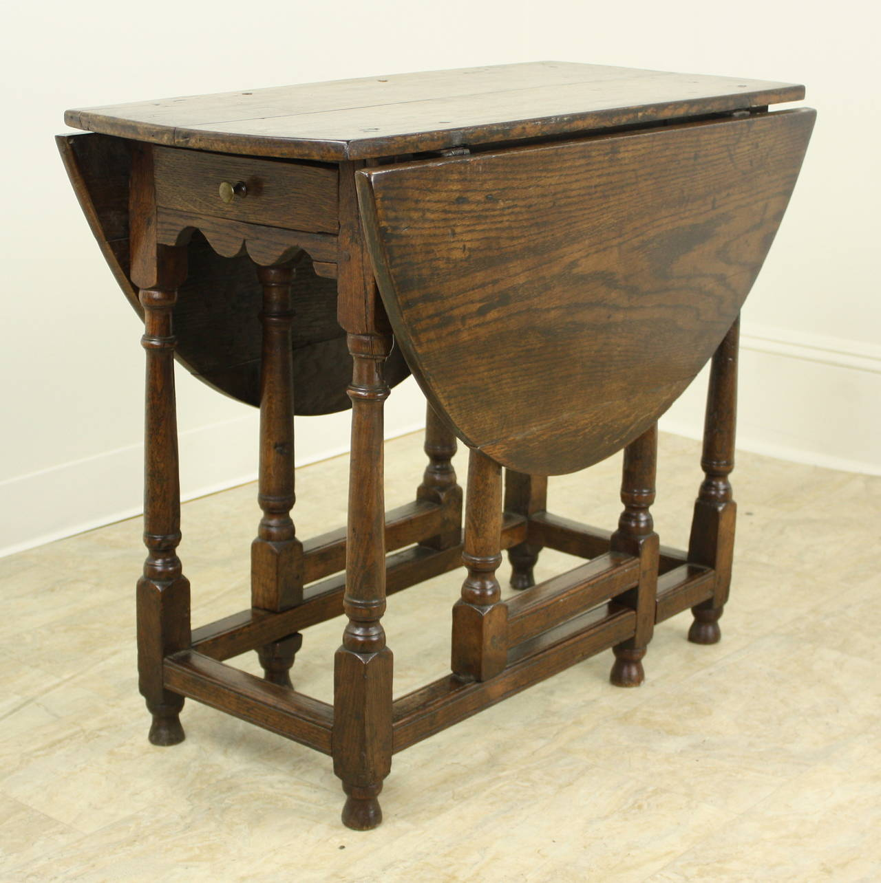 A Charming Period Oak Gateleg Table, With A Small Size That Allows A  Multitude Of
