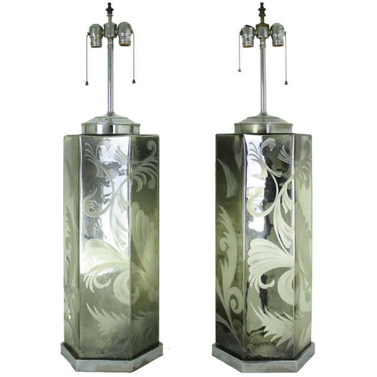 Pair Large Mercury Glass Lamps, Vintage