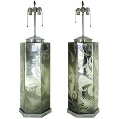 Pair Large Mercury Glass Lamps, Vintage