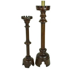 Two Tall Antique French Walnut Candlesticks