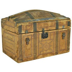 Small Antique English Painted Travelling Trunk